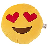 Heart Eyes emoji Cushion - Super Soft, Super Cuddly Pillow also known as Heart Face or Face with Heart-Shaped Eyes. This is a large emoji or emoticon pillow from Love Bomb Cushions