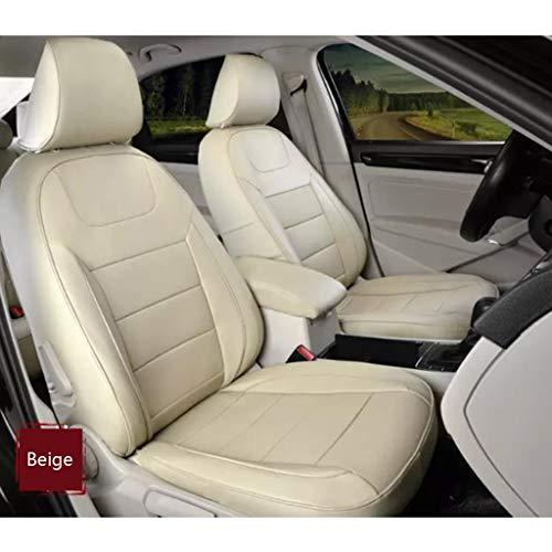 DX Auto-Sitzbezug, Leder Full Set 5 Sitz der Universal-Auto-Innen Zubehör Kompatible Airbag Four Seasons Universal-Breath Kuhfell Schutzkissen (Color : Beige)