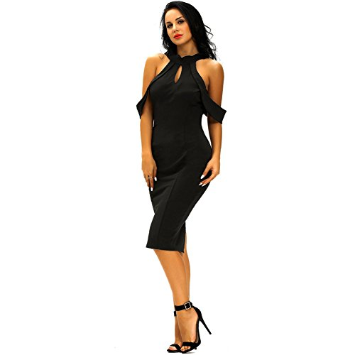PU&PU Femmes Formal / Travail / Soirée Hollow Out Off épaule Robe mi-longue, Backless Body Con red
