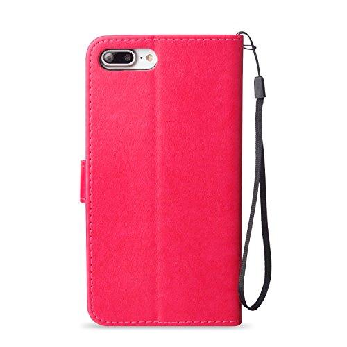Coque iPhone 8 Plus blanc 3D Papillon Portefeuille Fermoir Magnétique Supporter Flip Téléphone Protection Housse Case Étui Pour Apple iPhone 8 Plus + Deux cadeau Rose