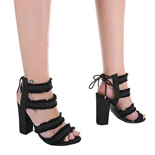 High Heel Sandaletten Damenschuhe Plateau Pump High Heels Schnürsenkel Ital-Design Sandalen / Sandaletten Schwarz