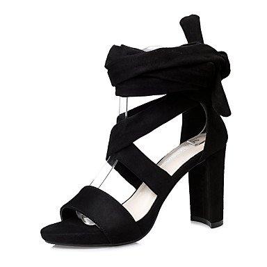 Enochx Donna Sandali Primavera Estate Comfort abito scamosciato Chunky tacco Black