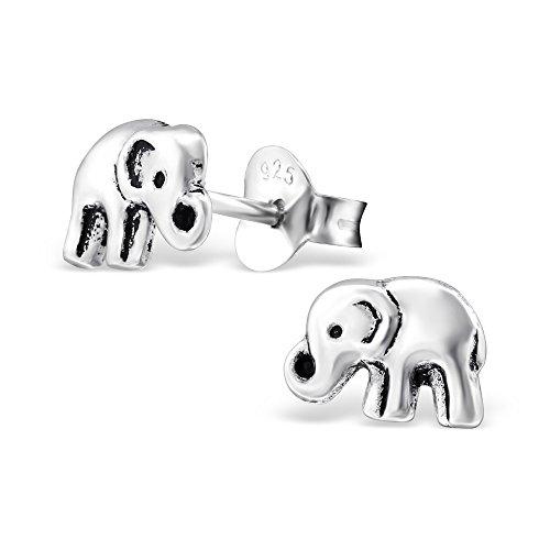 Pendientes con pequeños elefantes de plata de ley oxidada