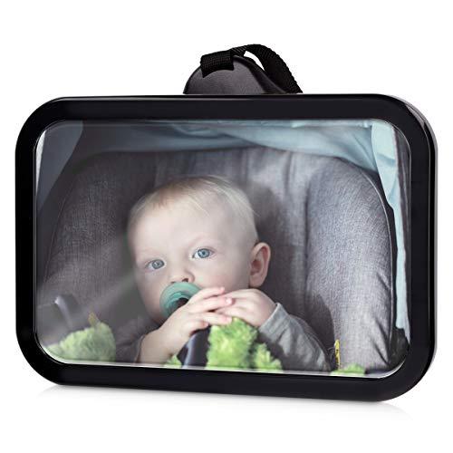 Navaris Baby Rücksitzspiegel Auto Spiegel - 360° drehbar bruchsicher - für Reboarder Kindersitz - Babyschale Rückspiegel Rücksitz Autospiegel