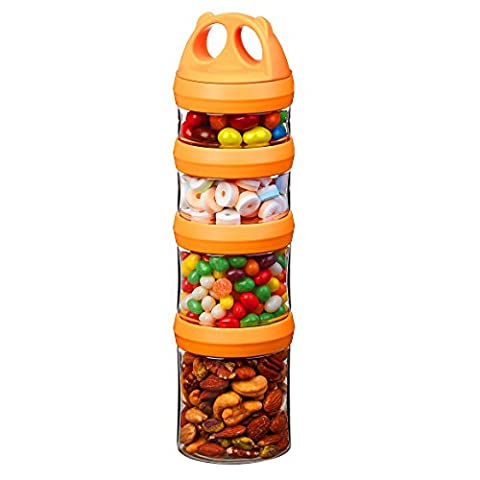Tritan Portable and Stackable 4-Piece Twist Lock Storage Container and Jars to Store Food, Formula, Supplements, Snacks, Nuts, Drinks and More, BPA and Phthalate Free, (910ML,