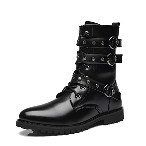 YXMYMM Mens Doc Martin Boots,Gothic Boots,Round-toe Lace Up Belt Buckle Leather Upper Abrasion Resistant