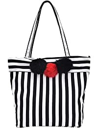 Monique Women Black-And-White Stripes Handbag Clutch Bag Oversize Travel Tote Outdoor Sling Bag Shoulder Bag