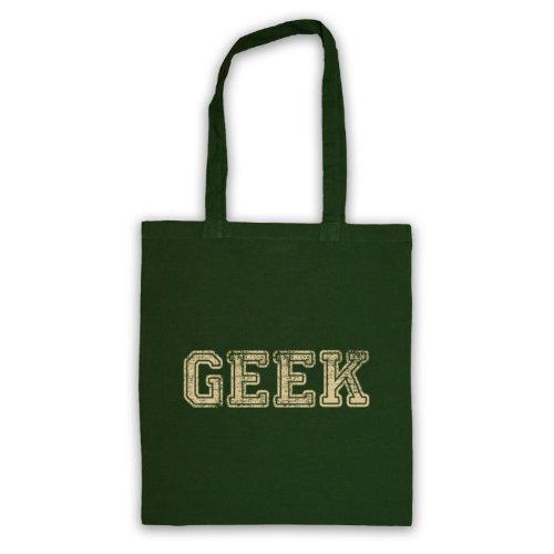 Geek-Borsa Tote, scritta con Slogan divertente Verde scuro