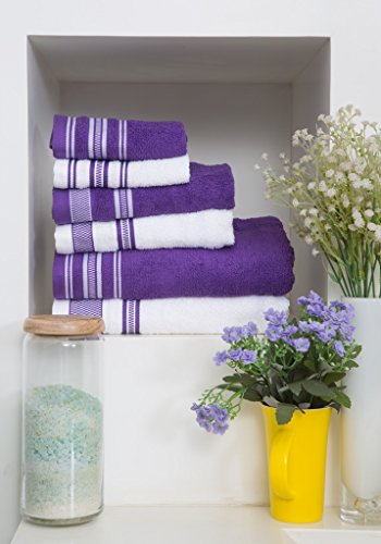 Spaces 6 Piece Cotton Towel Set - Purple and White Spaces