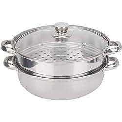 Cuiseur vapeur 2 couches en acier inoxydable, double chaudière, soupe, riz, etc.