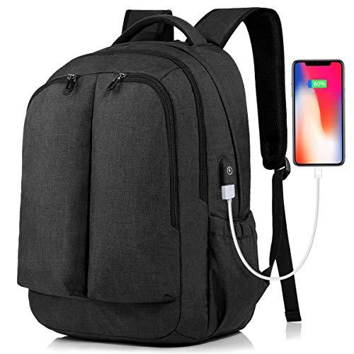 Tocode Laptop Rucksack Herren Damen Wasserdicht Business Taschen Rucksäcke, Schulrucksack für 17 Zoll Laptop Notebook Tablet Rucksack mit USB Ladeanschluss für Arbeit Wandern Reisen Camping, Schwarz