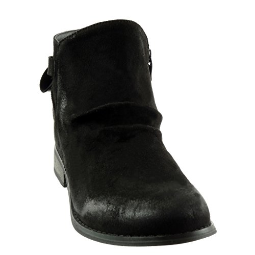 Angkorly - Bottines De Mode À La Cheville - Chaussure De Motard À Enfiler En Tricot Pour Les Motards Block Heel 3 Cm - Semelle Fourrée En Fourrure Noire