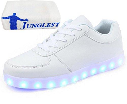 (Présents:petite serviette)JUNGLEST 7 Couleur Unisexe Homme Femme USB Charge LED Lumière Lumineux Clignotants Chaussur Blanc