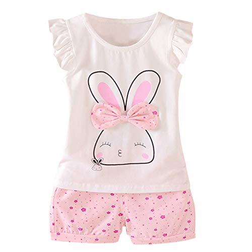 Zylione Mädchen Kostüm Set Kind Baby Fliegen Ärmel Kaninchen Print Bow Top + Polka Dot Shorts Zweiteilige Kindertagesgeschenk (Kostüme S Mädchen 80)