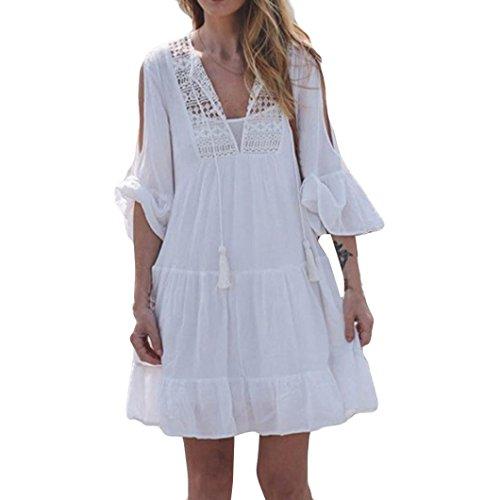 Preisvergleich Produktbild Dame Vogue Kleid, OYSOHE Neueste Frauen V-Ausschnitt Kleid Anzug Bikini Bademode Strand Sexy Badeanzug relaxed Kittel (XL, Weiß)