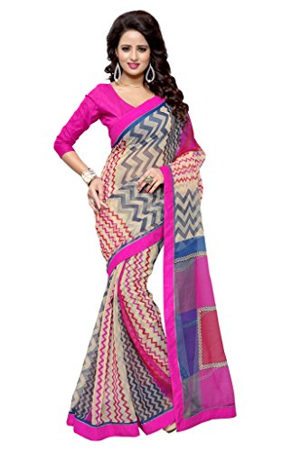 SOURBH Women's Art Silk (Super Net) Geometric Printed Saree (2361_Beige,Multicolor)  available at amazon for Rs.695