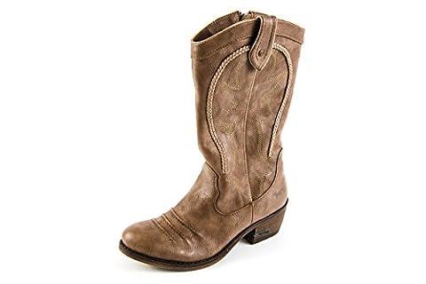 Mustang Damen Stiefel Western Boots Beige Braun Gr. 37