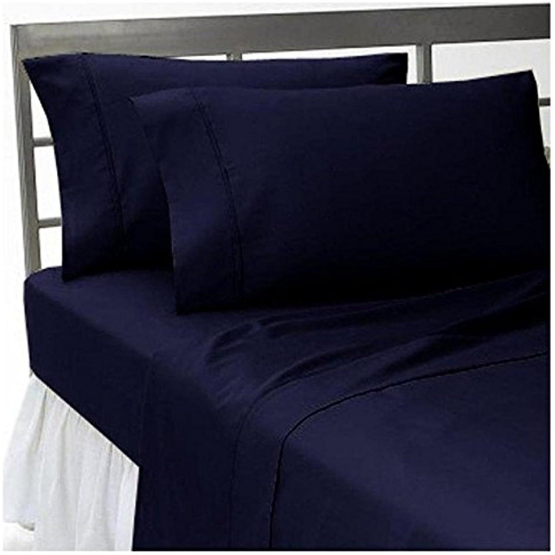 laxlinens 500 fils en coton égyptien 4 4 4 pièces pour lit (+ 76,2 cm) Extra profonde poche massif UK Super King Size, bleu marine de23e5
