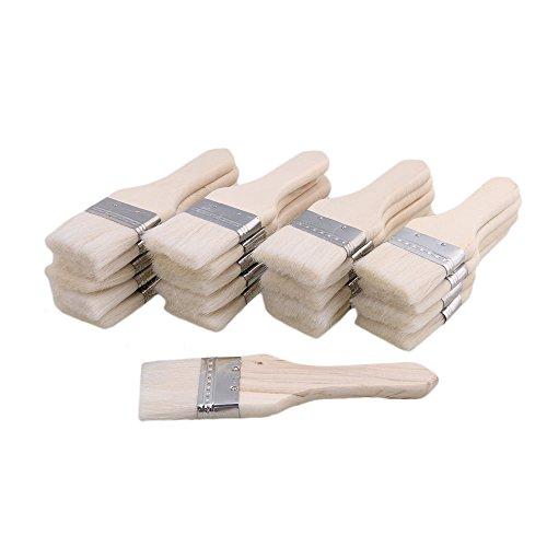 Yibuy 20pcs Weiß Holzgriff Span Borsten Pinsel Öl Pinsel 1,8 Zoll