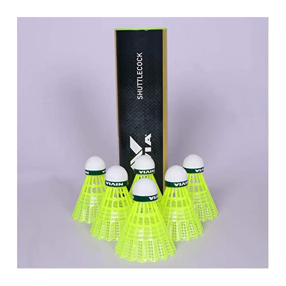 NIVIA Nylon Shuttlecock, Pack of 6 (Yellow/Green)