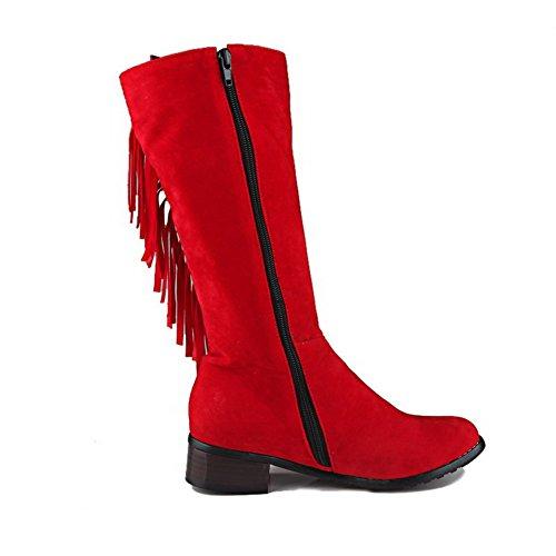 Stivali In Rossa Zip Voguezone009 Solido Colore Basso Hanno Di Donna Tacco Pelle gwqPgz8