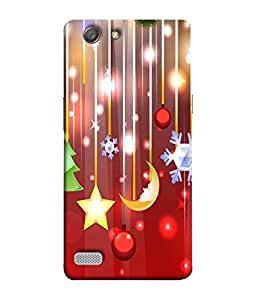 FUSON Designer Back Case Cover for Oppo Neo 7 :: Oppo A33 (Shining Stars Sun Moon Arts colourfull Pattern Red Background)