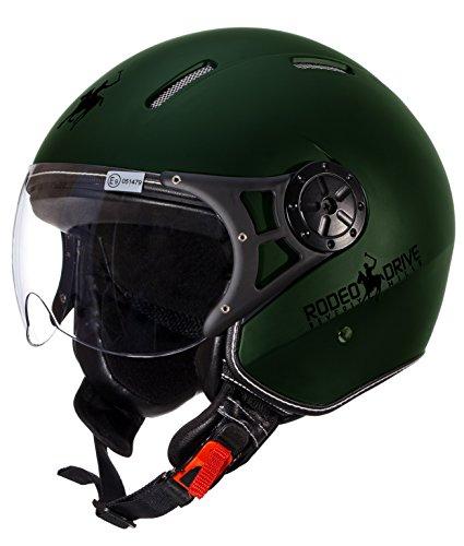 Rodeo Drive RD106 Casco Moto, Verde, Taglia XL