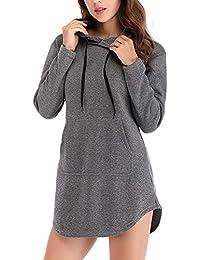 MEIbax Sudaderas con capucha Sudadera Casual para Mujer Sudadera sólida Manga Larga Irregular Pullover Top Blusa