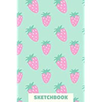 Sketchbook: Small Portable Blank Sketchbook for Drawing, Sketching, and Doodling with Strawberry Pattern Cover Design in Aqua Blue