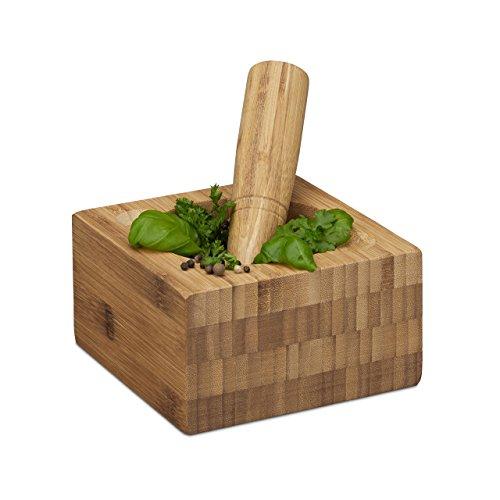 Relaxdays Mörser mit Stößel Bambus, natürlich, hochwertig, Gewürzmörser, HBT: ca. 8,5 x 15 x 15 cm, natur