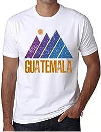 Hombre Camiseta Vintage T-Shirt Gráfico Mountain Guatemala Blanco
