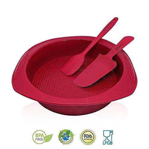 Backhaus® FlexBake Baking Set - Round cake pan & Silicone Spatula - Large Non Stick Silicone Bakeware - Standard Size Ø : 23cm - Burgundy