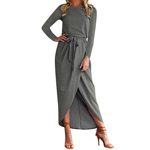 MRULIC Damen Edles Boho langes MaxiKleid Abend Partei Strand kleidet Sundress Kostüm mit Einem Körper, der Gurt formt (EU-36/CN-XS, Y-Dunkelblau)