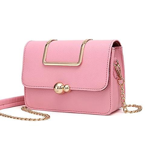 WU ZHI Ladies Small Sac Carré Mini PU Doux Sac à Bandoulière En Cuir Shoulder Sac à Main Wild Handbag,Pink-OneSize