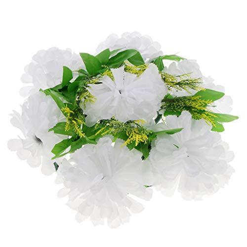 Fenteer Langlebig Grabschmuck Grabgesteck Blumen Gesteck Chrysanthemen Kranz für Urnengrab Grab Waldfriedhof - Weiß (Grab Blumen Kranz)