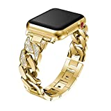 TINERS Compatibile con Apple iWatch 4/3/2/1 Generation Watch Chain Diamond Strap in Lega 38mm 40mm 42mm 44mm Gold,42mm/44mm