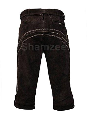 SHAMZEE Trachten lederhose Knielang inklusive Gürtel aus Echtleder in Braun farbe größe 46 - 62 Braun