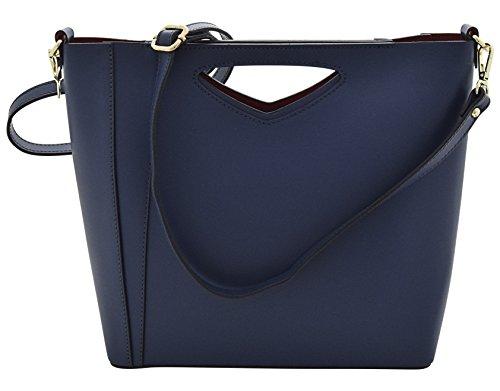 AMALIA Henkeltaschen Schultertaschen Handtaschen Tasche Damen Echtes Leder Made in Italy Blau