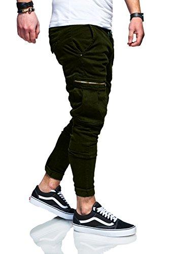MT Styles Herren Cargo Chinohose Jeans Hose JN-3545 [Khaki, W32/L32] (Herren-jeans Khaki)