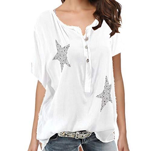 Dorical Sommer Damen Plus Size Rundhals Knopf-up Five-Pointed Star Hot Drill Oberteile Beiläufige Partei Tanz Elegante Bluse Kurzarm Tunika Tops Shirt Pulli Bluse Casual Tops Shirt(Weiß,Medium)