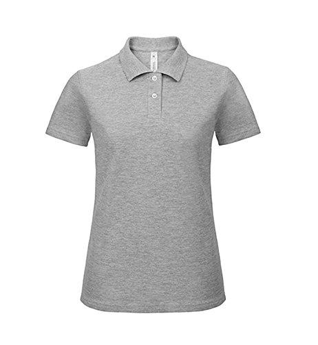 Polo Femme manches courtes simple Coton Heather Grey