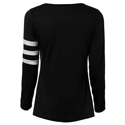 CYBERRY.M Femme Fille Manches Longues Col Rond Rayé Lâché T-shirt Top Blouse Noir
