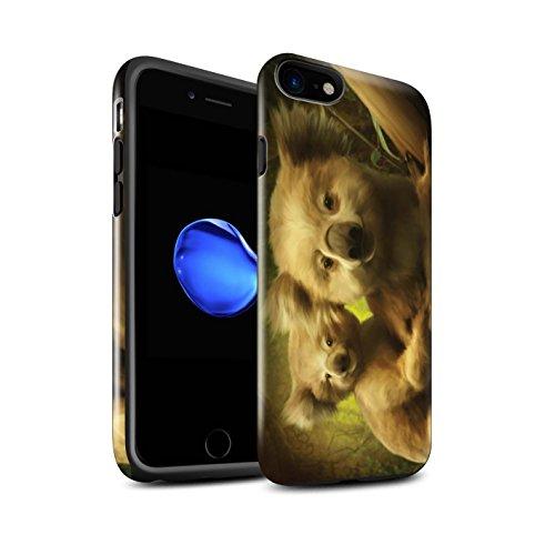 Officiel Elena Dudina Coque / Brillant Robuste Antichoc Etui pour Apple iPhone 8 / Endormi/Tigré Chat Design / Les Animaux Collection Koalas/Escalade d'Arbres