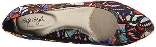 Soft Style by Hush Puppies Women's Darlene Wedge Pump, Mid Brown Leather, 10 M US Bright Multi Butterfly Grosgrain