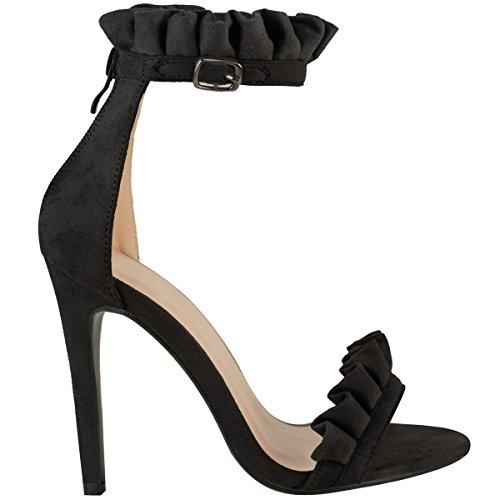 Damen Sandaletten mit hohem Stiletto-Absatz - Volant-Verzierung Schwarz Veloursleder-Imitat