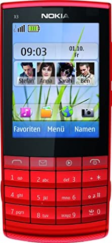 Nokia X3-02.5 Handy (6,1 cm (2,4 Zoll) Display, 5 Megapixel Kamera, Touch and Type) rot