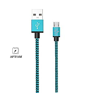 StyleTech Inc. Aluminum Nylon Braided Series 3 Feet Micro-USB Syncing/Charging Data Cable for Android, Samsung, HTC, Windows, Motorola, Tablets, etc. (1.) Blue)