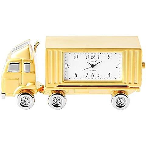 Orologio in miniatura, European orologio - camion - Orologio da tavolo autotreno, Colore Rosa,