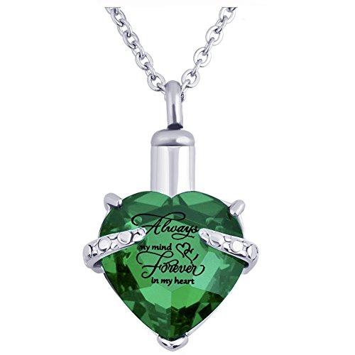 Herz Einäscherung Urn Halskette für Asche Urn Schmuck Memorial Anhänger mit Fill-Kit und Geschenk-Kasten (Grün)