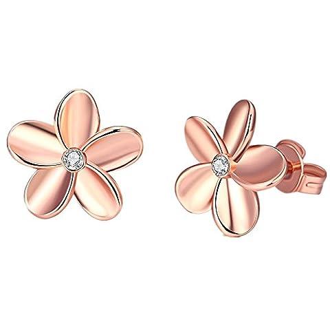 Bodya Filles Bijoux Femme Blanc/plaqué or rose Hawaiian Plumeria Fleur Oxyde de Zirconium Boucles d'oreille à tige 12mm - rose gold plated
